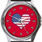 I Love USA Flag Red Round Metal Watch