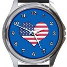 I Love USA Flag Blue Round Metal Watch