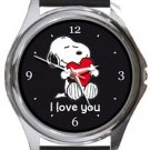 Snoopy I Love You Round Metal Watch