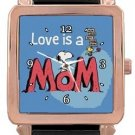 Snoopy I Love Mom Rose Gold Leather Watch