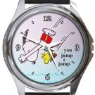 Snoopy You Jump I Jump Round Metal Watch