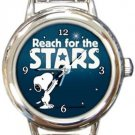 Snoopy Reach For The Stars And Beyond Round Italian Charm Watch