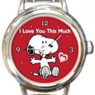 Snoopy I Love You This Much Round Italian Charm Watch