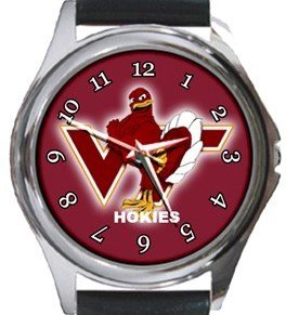 Virginia Tech Hokies Round Metal Watch