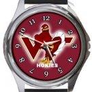 Virginia Tech Hokies Round Metal Watch