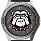 University of Georgia Round Metal Watch