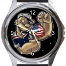 Popeye The Sailorman Round Metal Watch