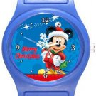 Mickey Mouse Merry Christmas Blue Plastic Watch