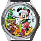 Mickey Mouse It's Christmas Time Round Metal Watch