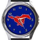 Southern Methodist University Mustangs Round Metal Watch