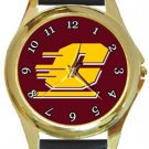 Central Michigan Chippewas Gold Metal Watch