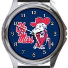 University of Mississippi Ole Miss Rebels Round Metal Watch
