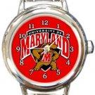 The University of Maryland Terrapins Round Italian Charm Watch
