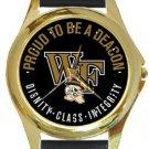 Wake Forest University Deacon Demons Gold Metal Watch