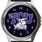 Texas Christian University TCU Horned Frogs Round Metal Watch