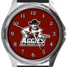 New Mexico State Aggies Round Metal Watch