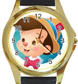 Pinocchio Gold Metal Watch