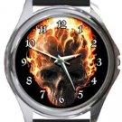 Burning Skull Round Metal Watch