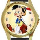 Cute Pinocchio Gold Metal Watch