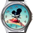 Mickey on Magic Carpet Round Metal Watch