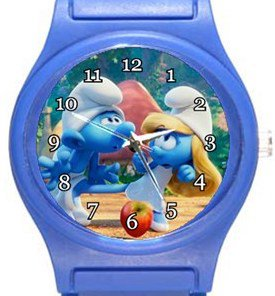 Smurf and Smurfette Blue Plastic Watch