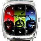 Scary Halloween Pumpkins Square Metal Watch