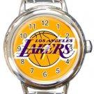 LA Lakers Round Italian Charm Watch