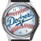LA Dodgers Round Metal Watch