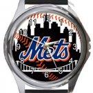 New York Mets Round Metal Watch