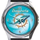 Miami Dolphins Round Metal Watch