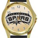 San Antonio Spurs Gold Metal Watch