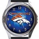 Denver Broncos Round Metal Watch