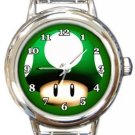 Super Mario Brothers Mushroom Round Italian Charm Watch