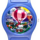 Snoopy On Hot Air Balloon Blue Plastic Watch