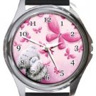Sending Butterfly Kisses Love Round Metal Watch