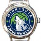 Minnesota Timberwolves Round Italian Charm Watch