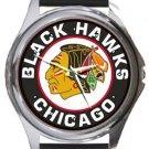 Chicago Black Hawks Round Metal Watch