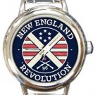 New England Revolution Round Italian Charm Watch