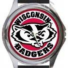 Wisconsin Badgers Round Metal Watch