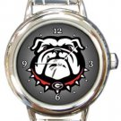 Georgia Bulldogs Round Italian Charm Watch