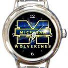 Michigan Wolverines Round Italian Charm Watch