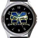 Michigan Wolverines Round Metal Watch
