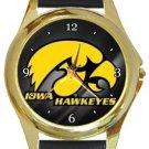 University of Iowa Hawkeyes Gold Metal Watch