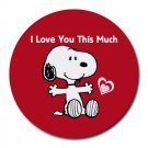 Snoopy I Love You This Much Heat-Resistant Round Mousepad