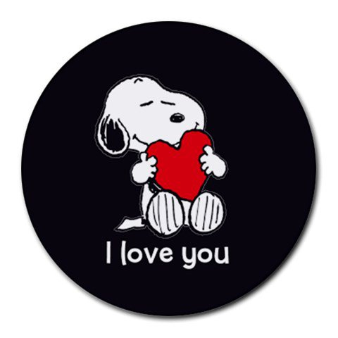 Snoopy I Love You Heat-Resistant Round Mousepad