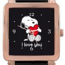 Snoopy I Love You Rose Gold Leather Watch
