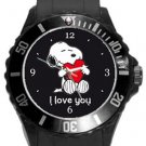 Snoopy I Love You Plastic Sport Watch In Black