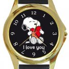 Snoopy I Love You Gold Metal Watch
