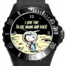 Snoopy I Love You To The Moon And Back Plastic Sport Watch In Black