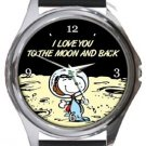 Snoopy I Love You To The Moon And Back Round Metal Watch